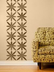 Barka African Flower Stencil by Royal Design Studio on Wall - just the idea but different stencil