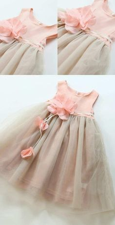 Cute Light Grey Knee-Length Flower Girl Dresses With Flower Appliques, Flower Girl Dresses,This is the time to actually be bold and found your oomph baby dress outfit, all of us is created consequently wherever you are, you'll be able to show your de Grey Flower Girl Dress, Tulle Flower Girl, Cheap Flower Girl Dresses, Dresses Kids Girl, Long Dresses, Dress Long, Frocks For Girls, Kids Frocks, Baby Dress Clothes