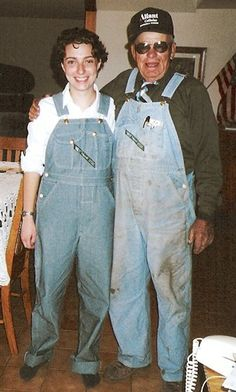 """We especially liked the one below of Ed Snodgrass, """"a Nebraska farmer, WWII vet, and awesome grandpa who dressed up for a visit with his granddaughter."""" He gets bonus points for wearing a tie with his overalls and takes home the prize! The photo is truly priceless and a reminder of what wonderful characters grandfathers can be."""
