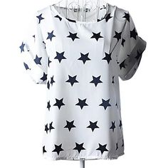 Short Sleeve Printed Summer Blouse White and Black