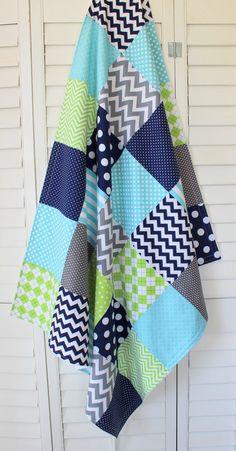 Baby Boy Blanket, Nursery Decor, Minky Blanket, Crib Blanket, Chevron Nursery, Navy Blue, Lime Green, Aqua Blue, Gray, Grey Chevron