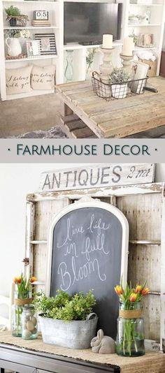Farmhouse Decor ideas - farmhouse living room ideas and farmhouse family rooms #farmhouselivingrooms #farmhousefamilyrooms #rusticfamilyrooms #rusticlivingrooms #farmhousestyledecorating #livingroomideas #farmhousestyle