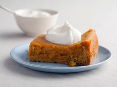 Paula Deen's Pumpkin Gooey Butter Cake  Just served these at at party!  Soooo good.  For more variations, google Paula Deen Gooey Butter Cake.  They are all good.  This one works great with SWEET POTATO subbed for the pumpkin, if you have those that don't like pumpkin.  It is still orange colored.  I had the sweet potato one in The Lady and Sons restaurant in Savannah, GA.  :0