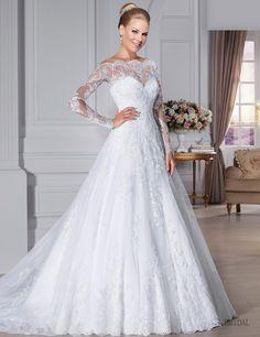 Vestido De Noiva Vestido De casamento Custom Made colher ver através voltar Zipper botão frisada Appliqued manga comprida Lace Vestido De Noiva alishoppbrasil
