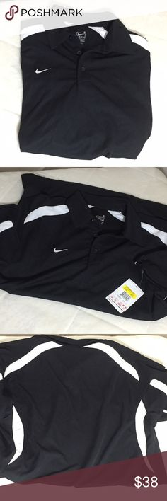 "Nike Men's Shirt in Black Size S Nike Fit Dry  Lightweight almost mesh like Swoosh on the collar White trim across the chest unto the sleeves Plain back Split hem on both sides.  100% polyester Machine wash cold and tumble dry low  Size Small  Measurements are approximate laying flat. Chest 21"" Length 28""  Bin O3 Nike Shirts"