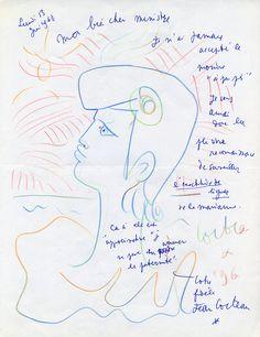 Jean Cocteau, Lettre autographe illustrée d'un dessin représentant un projet de Marianne, adressée au ministre des Postes et Télécommunications Michel Maurice-Bokanowski, 1960 © Collection L'Adresse Musée de La Poste / ADAGP, Paris 2018.