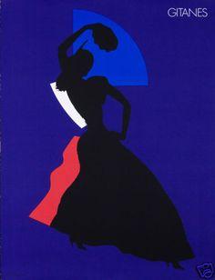 Original Vintage Poster Gitanes Cigarette Flamenco Dancer Spanish Pop Art Mod
