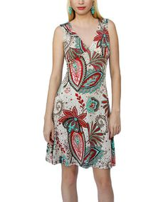 Loving this Taupe Floral Cutout V-Neck Dress on #zulily! #zulilyfinds