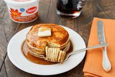 These maple and vanilla protein pancakes are a quick and easy breakfast option! #sweetspirations