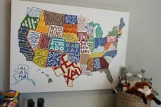 MAP - GREAT DECORATION AND LEARNING MAP FOR CHILDREN AND PLAY ROOMS.