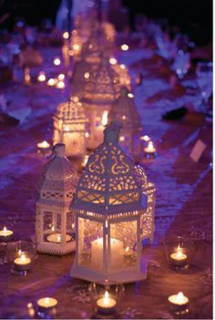 moroccan lanterns--think these type of lanterns might be better as decorations OFF of the tables
