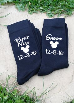 Treat your groom to a little Disney magic for the big day with these bespoke Disney-inspired socks by Fairytale Sparkle! Personalise with your own wording, colours etc. Discover magical Disney-themed wedding stationery, gifts and apparel for your special day at the happiest place on Earth at https://www.facebook.com/fairytalesparkle/ #DisneyWedding #Disney #WeddingIdeas #DisneyWeddingApparel