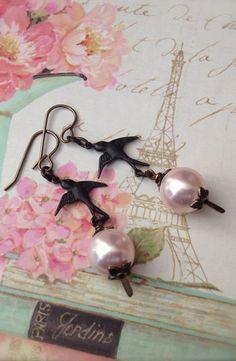 Pearl Drop Earrings Rosaline Pink Swarovski