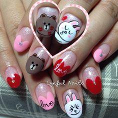 Photo taken by Cynthia Tan - Kawaii Nail Art, Anime Nails, Cute Gel Nails, Gel Extensions, Japanese Nail Art, Perfect Nails, Nail Inspo, Swag Nails, Acrylic Nails