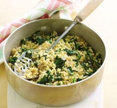 Brown rice with spinach | Australian Healthy Food Guide