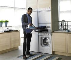Washer and Dryer Closet for Laundry Room Ideas : Luxury Washer And Dryer Closet For Laundry Room Ideas Pull Out Ironing Board, Modern Laundry Rooms, Laundry Area, Tiny Living, Storage Solutions, Washer And Dryer, Washing Machine, Home Appliances, Luxury