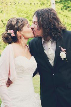 Les moineaux de la mariée: ♥ Charline & Alex (FR) ♥ - Vrai mariage - Coiffure de la mariée- chignon flou + natte