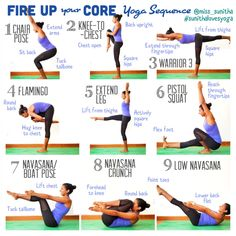 Core Yoga Sequence. Fire up your core, connect with your inner strength #yogasequences