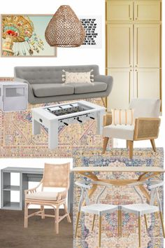 Four fun rec room/ Gameroom / Playroom / Hangout space design mood boards perfect for kids, teens and adults. Homework Table, Toy Rooms, Home Office Space, Wood Beds, Affordable Home Decor, Weathered Wood, Decorating On A Budget, Home Decor Items, Game Room