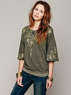 Free People Embellished Bell Sleeve Pullover
