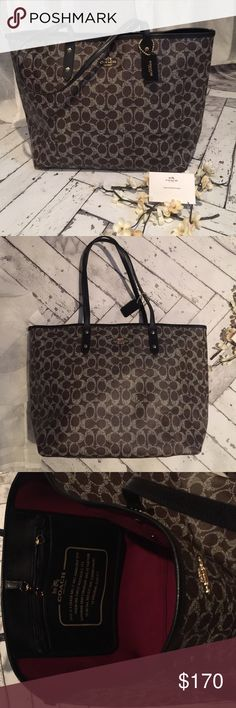 """NWT Coach City Tote Brand spankin new with tags authentic Coach """"city tote"""". This is such a gorgeous bag and is very reminiscent of the """"never full."""" Dark brown with cream """"c"""" monogram print. Black leather trim and straps and finished with gold hardware. Red interior is finished with a hook closure.                                    ❌❌No Trades❌❌.    I price realistically, so low ball offers will be ignored... I have this item listed on Ⓜ️erc, ask about lower price!! Coach Bags Totes"""