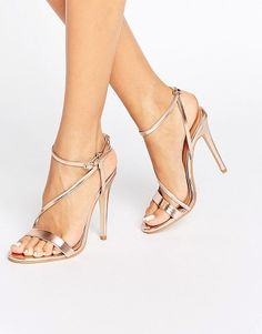 Angeline Cross Strap Rose Gold Heeled Sandals by Public Desire. Sandals by Public Desire, Faux-leather upper, Metallic finish, Ankle-strap fastening, Cross strap design, High stilet...