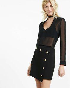 black asymmetrical button front mini skirt