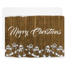 Wood Snowman Merry Christmas Wishes Card - invitations personalize custom special event invitation idea style party card cards