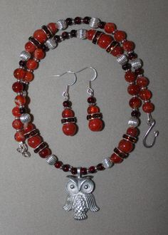Crimson Owl by StoneExpressions on Etsy