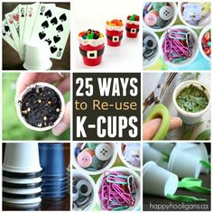 25 Ways to Re-Use K-Cups - Happy Hooligans (I don't have a Keurig, but it drives me crazy that these are so popular among coffee drinkers as these plastic cups are so environmentally unfriendly. Filters are biodegradable. K Cup Crafts, Crafts To Make, Fun Crafts, Crafts For Kids, Keurig Cleaning, K Cups, Do It Yourself Crafts, Coffee Pods, Diy Craft Projects