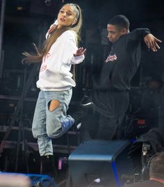 Ariana Grande performing at One Love Manchester benefit concert
