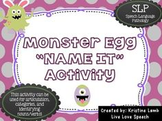Monster Egg NAME IT Game! {Articulation & Language} - This activity can be used with 1st, 2nd, 3rd, 4th or 5th grade classroom students working on ARTICULATION and LANGUAGE goals! {first, second, third, fourth, fifth grader}