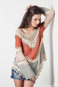 Ombre Multicolor Boho V-Neck Long Sleeve Crochet Tunic Top-Rust