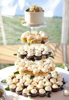 Brides: An Elegant, Laid-Back Wedding at The Allen Farm in Martha's Vineyard, MA #CupcakeTower