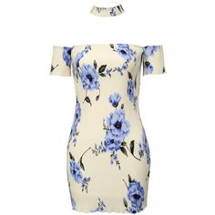 Blue and White Off The Shoulder Floral Dress ($16) ❤ liked on Polyvore featuring dresses, white, short floral dresses, white sheath dress, long-sleeve floral dresses, off shoulder dress and short-sleeve maxi dresses