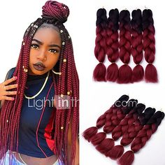 5pcs Box Braids Jumbo Hair Extensions 1B / Wine Red Color Kanekalon Hair Braids 500g - USD $21.75 ! HOT Product! A hot product at an incredible low price is now on sale! Come check it out along with other items like this. Get great discounts, earn Rewards and much more each time you shop with us!