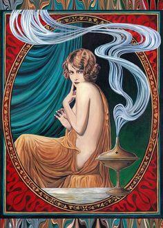 "Emily Balivet ""Il fascino di Ishtar""- Card Art Nouveau dea 5x7"
