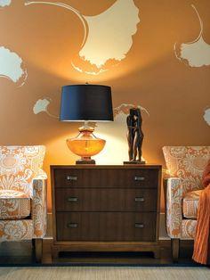 Wand Streichen Muster Ideen Wohnzimmer Orange Wandfarbe Ginkgo