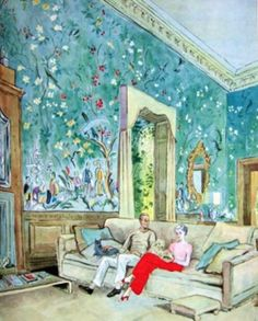 This charming watercolor-probably by the late Mark Hampton, Shows the Williams in their chic Palm Beach drawing room designed by Syrie Maugham. The antique paper is probably, in reality, more green than blue, the room was later embellished by Jayne Wrightsman and Henri Samuel. If you like all things Chinoiserie-this is a little piece of heaven!