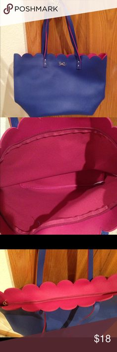 Brand new with tags Tote Bag Super cute Periwinkle & pink tote with zip top closure. Brand new with tag inside Bags Totes