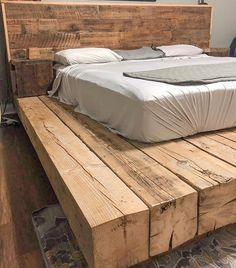 One year later, and the owners of this EPIC barn beam bed frame are still loving it! Farmhouse Style Bedrooms, Farmhouse Decor, Farmhouse Kitchens, Wooden Platform Bed, Tv Decor, Home Decor, Decor Ideas, Diy Bed Frame, Home Bedroom