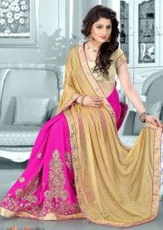 Party Wear Georgette Beige Antique Work Saree