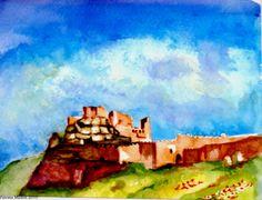 Acuarela. Fortaleza de Paracense Teruel. Fortress Paracense Teruel. Spain