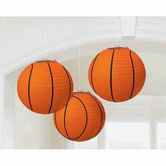 These fun round paper lanterns are a great addition to your basketball party. Includes 3 orange colored lanterns with black stitching to look like a basketball. Easy to assemble and hang. Includes 3 re-usable basketball paper lanterns with string to hang. Basketball Baby Shower, Basketball Birthday Parties, Sports Birthday, Sports Party, Basketball Hoop, Basketball Season, Basketball Jersey, 2nd Birthday, Basketball Scoreboard