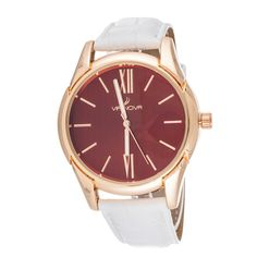 This elegant women's timepiece by Xtreme Watches displays a white leather strap and a snap-down clasp. Completed with  rose goldtone hands.