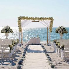 Beach Wedding Ceremony Set Up At La Playa Golf Resort In Naples Florida Florals By Isnt She Lovely
