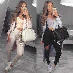 """1️⃣ or 2️⃣?   outfit 1️⃣: coat @myy_stylee_15 | top @fashionnova | jeans @ginatricot | bag @fashiondrug | shoes @officeshoes  outfit 2️⃣: coat…"""