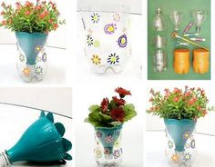 DIY – Flower Pot Made From Plastic Bottles. What we have here is a creative idea for any home. To make flower pot made of plastic bottles you need some stuff. Things needed are plastic bottles, colored markers, scissors / cutter, paint. Plastic Bottle Flowers, Plastic Bottle Crafts, Recycle Plastic Bottles, Plastic Vase, Diy Flowers, Flower Pots, Fresh Flowers, Spring Flowers, Flower Crafts