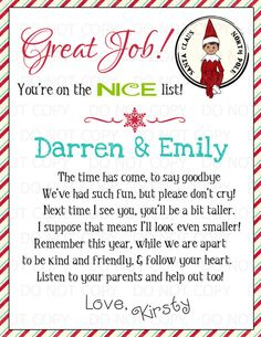 Printable Personalized Elf on the Shelf by onelovedesignsllc