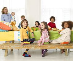 The kids will love sitting at a table that you've set to look like a bed.